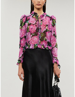 The Kooples Floral-print satin-crepe blouse