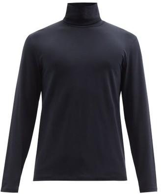 Jil Sander Logo Embroidered Cotton Blend Roll Neck Top - Mens - Dark Blue