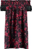 Mother of Pearl Imogene off-the-shoulder printed silk-satin mini dress
