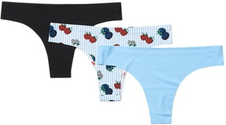 Aqs Assorted Seamless Thong Panties - Pack of 3