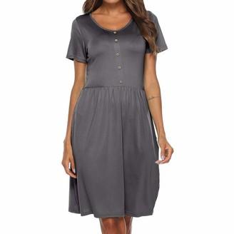 Zerototens Women Dress Zerototens Summer Dresses for Women Short Sleeve Pockets Mini Dress Loose Casual Plain T Shirt Tunics Dresses Faux Button Pleated Dress Nightdress Gray