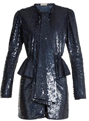 ATTICO The Luna Peplum-waist Sequin-embellished Mini Dress - Womens - Blue Multi