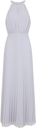 Evans **Chi Chi London Navy Blue Pleated Maxi Dress