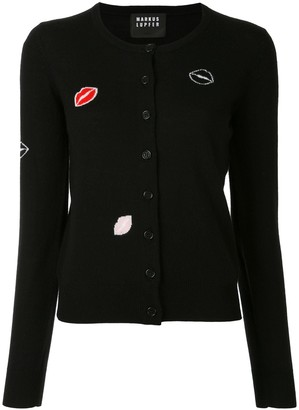 Markus Lupfer Lips Embroidered Cardigan
