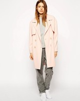 Asos Coat In Cocoon Fit With Stormflaps