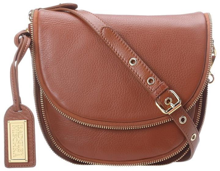 Badgley Mischka Ingrid Soft Pebble Saddle Bag (Cognac) - Bags and Luggage