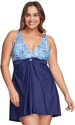 Plus Size Mazu Swim Twist-Front Paisley Hip Minimizer Swim Dress