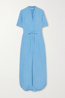 Tosca Belted Linen-blend Midi Dress