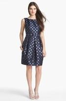 Eliza J Metallic Polka Dot Fit & Flare Dress