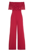 Quiz Red Sequin Lace Bardot Jumpsuit