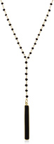 42 CT TW Onyx 14K Gold-Plated Sterling Silver Y Bar Beaded Necklace by Sundar Gems