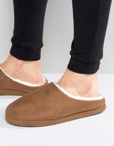 Asos Slip On Slippers In Tan With Sheerling Lining