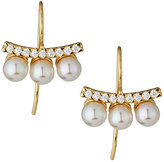 Majorica 18k Vermeil Pave Crystal Pearly Bar Drop Earrings