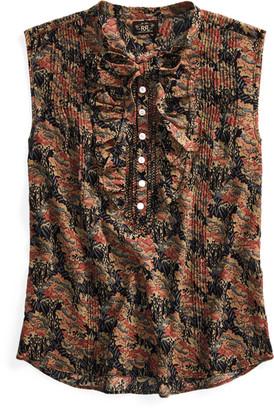 Ralph Lauren Floral Cotton Tie-Neck Blouse