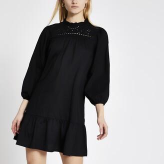 River Island Womens Black broderie long sleeve mini smock dress