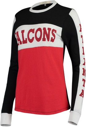 Junk Food Clothing Unbranded Women's Black/Red Atlanta Falcons Color Block Racer Long Sleeve T-Shirt