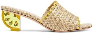 Kate Spade Citrus Lemon-Wedge Raffia Sandals