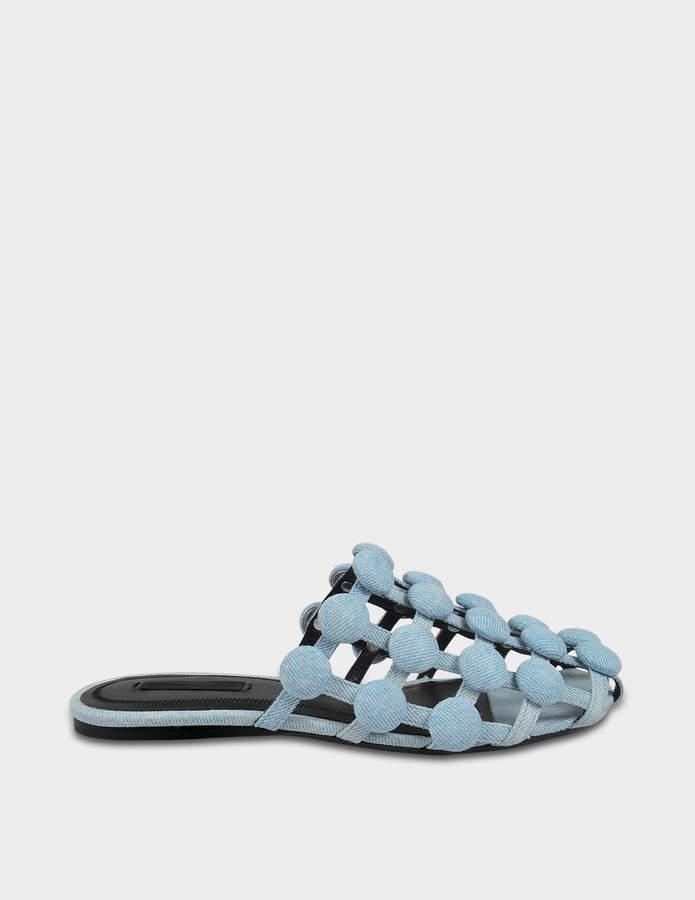 Alexander Wang Amelia Flat Slide Shoes in Blue Cotton