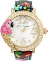 Betsey Johnson Women's Parrot Gold-Tone Floral Leather Strap Watch 44mm