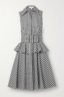 Michael Kors Belted Gingham Cotton-poplin Peplum Shirt Dress - Black