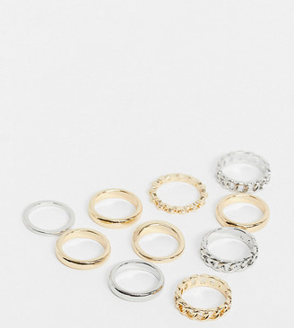ASOS DESIGN Curve pack of 10 rings in mixed metals with chain detail