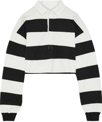 Current/Elliott The 65 Rugby Cropped Striped Cotton Polo Shirt