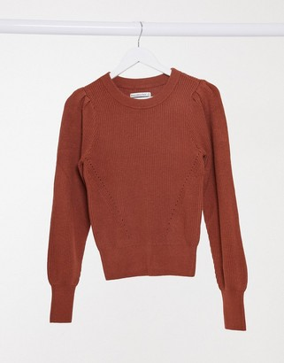 Abercrombie & Fitch puff-sleeved crew neck knitted jumper in rust