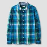 Boys' Plaid Long Sleeve Button Down Shirt Cat & Jack - Blue/Green