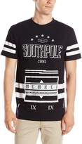 Southpole Men's Short Sleeve Graphic Tee with Logo and Accent Stripes