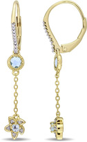 Laura Ashley 5/6 CT TW Topaz and Diamond Yellow-Plated Silver Floral Dangle Earrings