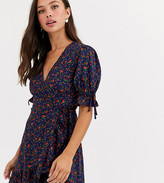 Wednesday's Girl wrap mini dress with tie sleeves in ditsy floral