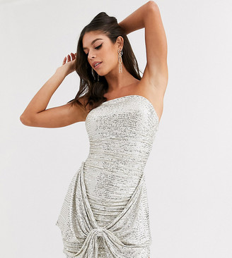 Club L London Tall sequin bandeau oversized bow dress in silver