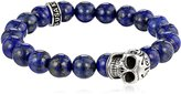 King Baby Studio 10mm Men's Men's Lapis Bead Bracelet with Silver Day of the Dead Skull