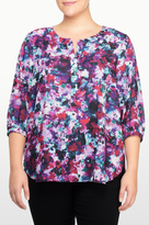 NYDJ Loverly Blossoms Print 3/4 Sleeve Blouse In Plus