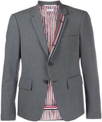 Thom Browne Seersucker Striped Trim Blazer
