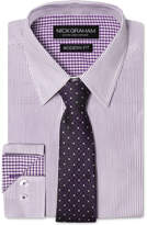 Nick Graham Men's Modern Fitted Striped Dress Shirt & Grid Tie Set