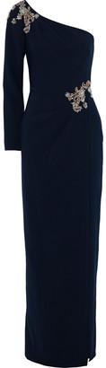 Marchesa Notte One-shoulder Embellished Stretch-cady Gown