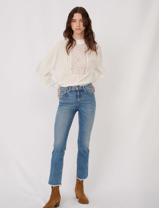 Maje Straight cut jeans with fringing