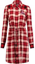 Just Cavalli Crepe-Paneled Appliquéd Plaid Twill Dress