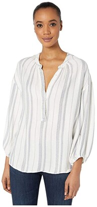 True Grit Dylan by Denim Friendly Soft Rayon Stripe Tunic Blouse (Natural) Women's Clothing