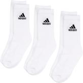 adidas White 3 Pack Cotton Crew Socks