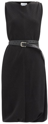 Raey Belted Crinkled-silk Shift Dress - Black