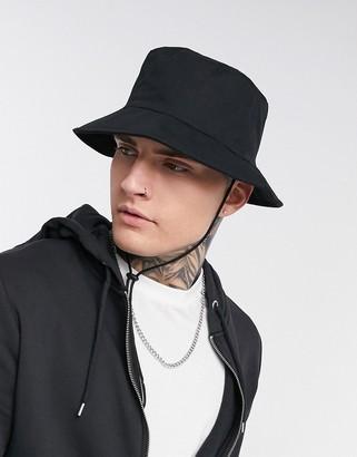 ASOS DESIGN wide brim safari bucket hat in black with tie drawcord