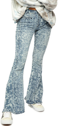 Free People Dream Lover Printed Flare Jean Multi 25