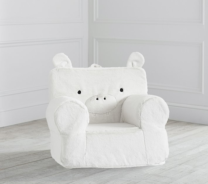Pottery Barn Kids My First Gray Hippo Faux Fur Anywhere Chair