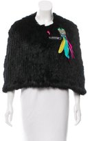 Jocelyn Embroidered Fur Cape