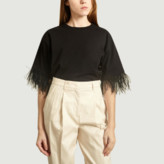 Essentiel Antwerp - Black Cotton Feather T Shirt - 0
