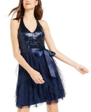 Teeze Me Juniors' Sequin-Top Ruffled Dress