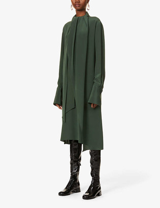 Loewe Lavalliere long-sleeved silk-crepe midi dress