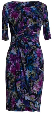 Connected Petite Floral-Print Sheath Dress